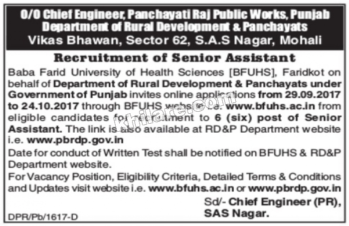 Rural Development and Panchayats (Punjab) Recruitment of Senior Assistant