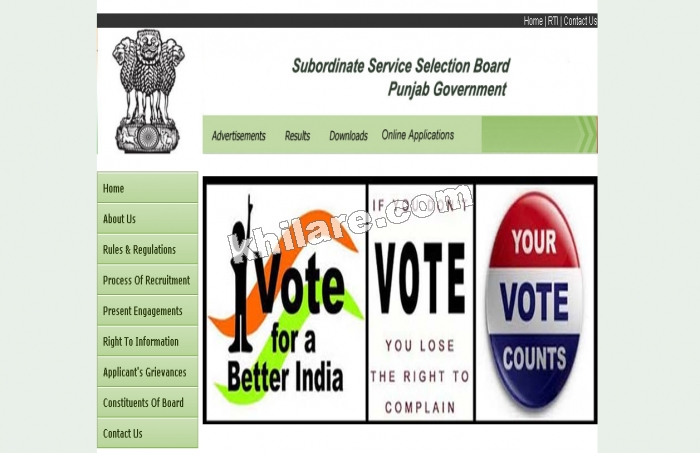 Punjab Sub Ordinate Service Selection Recruitment 03 of 2016 (Teaching and Non Teaching)