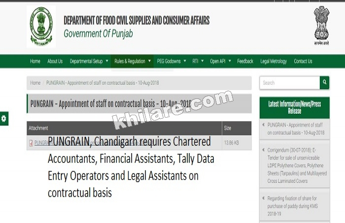 Punjab State Grains Procurement Corporation Limited (PUNGRAIN), Chandigarh Recruitment