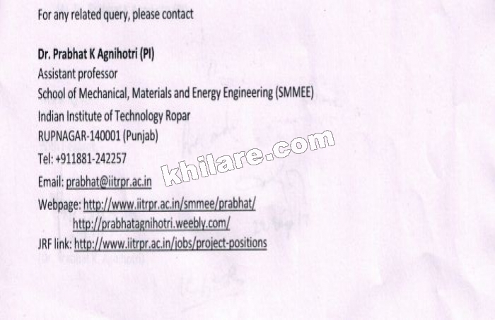 IIT Ropar Jr Research Fellow Recruitment 2017