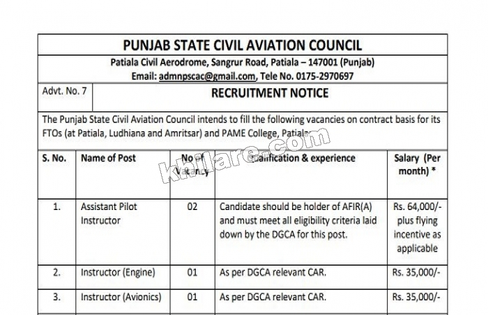 PUNJAB STATE CIVIL AVIATION COUNCIL RECRUITMENT 2018