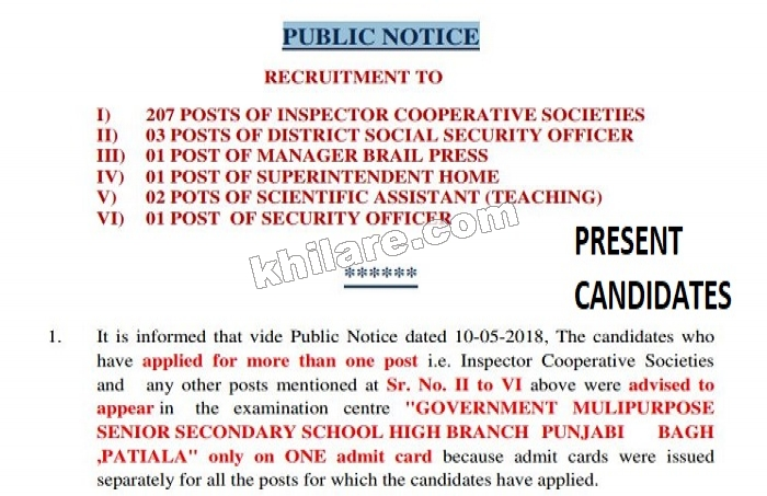 PPSC RECRUITMENT 2018 | 207 POSTS OF INSPECTOR COOPERATIVE SOCIETIES | PRESENT CANDIDATES