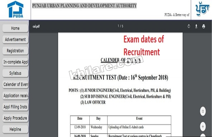PUDA RECRUITMENT 2018 | PUNJAB URBAN PLANNING AND DEVELOPMENT AUTHORITY | CALENDER OF EXAMS
