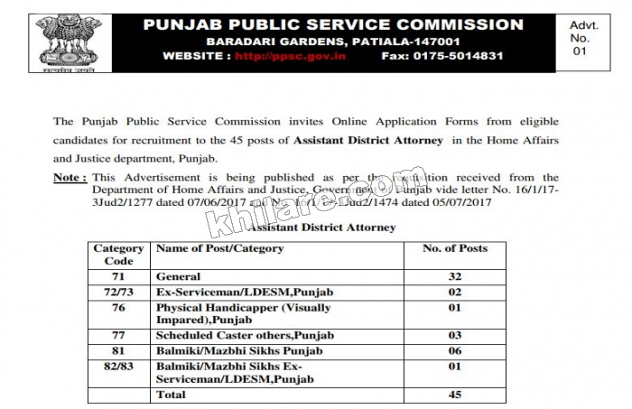 PPSC RECRUITMENT TO 45 POSTS OF ASSISTANT DISTRICT ATTORNEY