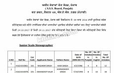 PSSSB Result and Merit list for the post of Jr.Scale Stenographer and Steno-Typist