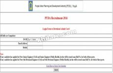 Download Admit Card PUDA Recruitment 2016.