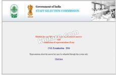 CGL Examination 2016 - Notice for candidates response sheet correct answer and submission of representations