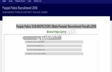 Punjab Police SUB-INSPECTORS (Male/Female) Recruitment Results-2016